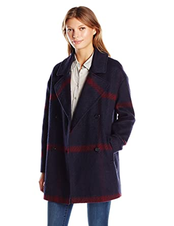 Amazon.com: Tommy Hilfiger Women's Double Breasted Oversized Plaid ...