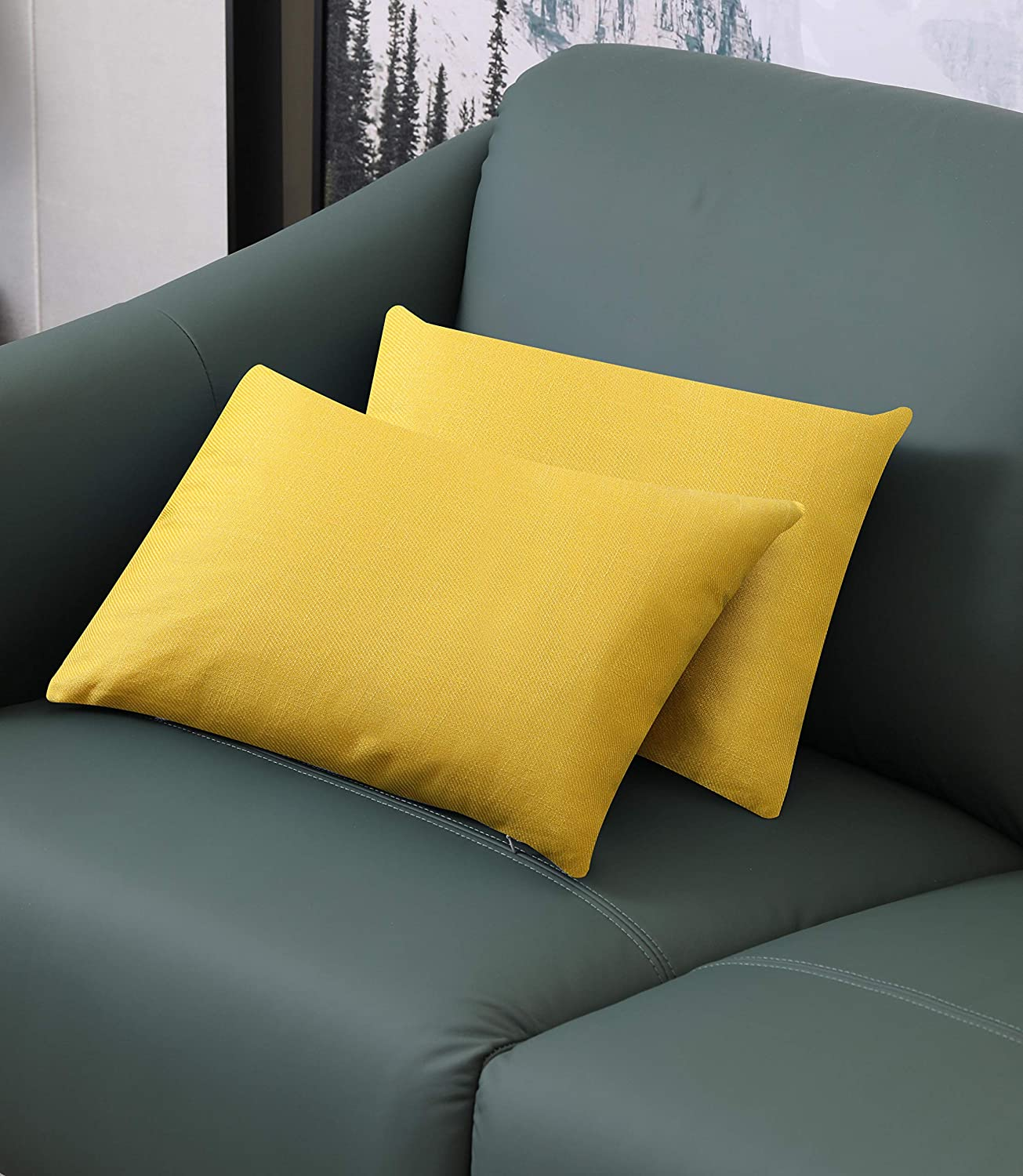 ZLINA Yellow Linen Lumbar Pillow Covers Set of 2 Cushion Covers Pillowcase Home Decor for Sofa Couch Bed Chair Car Farmhouse 12x20 Inch