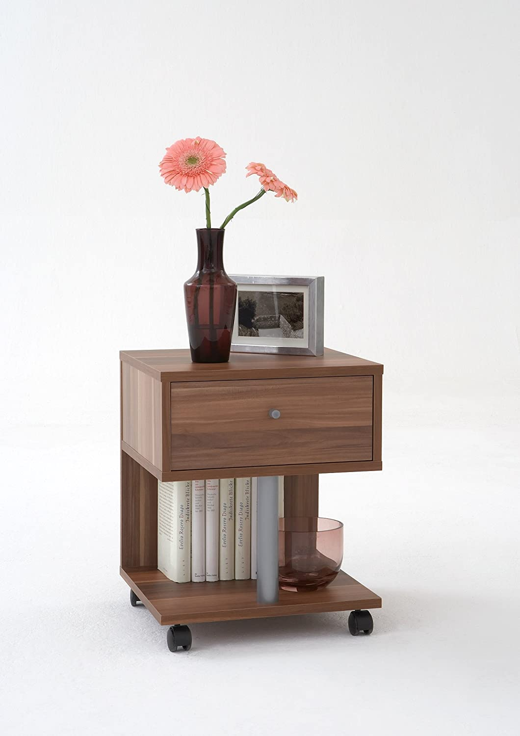 Attrayant Walnut Colour Wood Bedside Coffee Side Table On Wheels By DMF:  Amazon.co.uk: Kitchen U0026 Home
