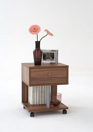 Walnut Colour Wood Bedside Coffee Side Table On Wheels By DMF