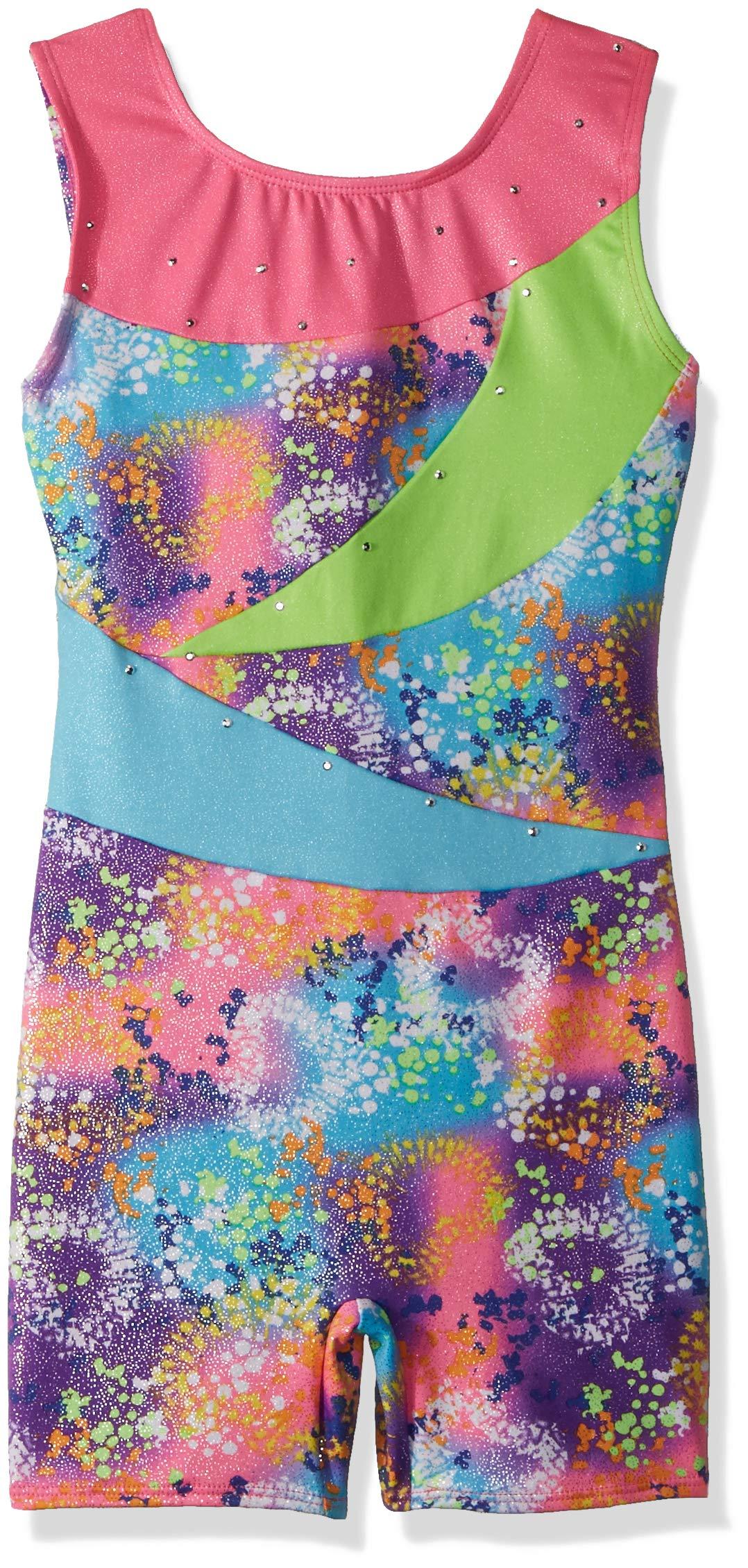 Jacques Moret Little Girls' Fun Gymnastics Biketard, Tie Dye Hearts Printed Color Block, S