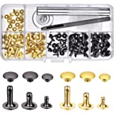 Outus Rivets Single Cap Rivet Tubular Metal Studs with Fixing Tool Kit for Leather Craft Repairs