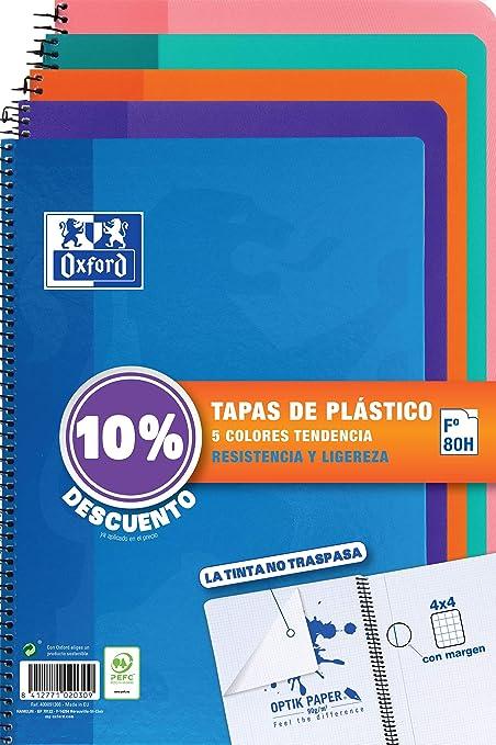 Cuadernos Folio(A4) Oxford. Pack 5 unidades. Tapa Plástico. 80 ...