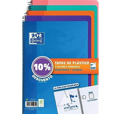 Oxford 400044180 Classic - Pack de 5 cuadernos espiral con tapa de plástico, 4º (Formato Cuarto), Colores Surtidos: Amazon.es: Oficina y papelería