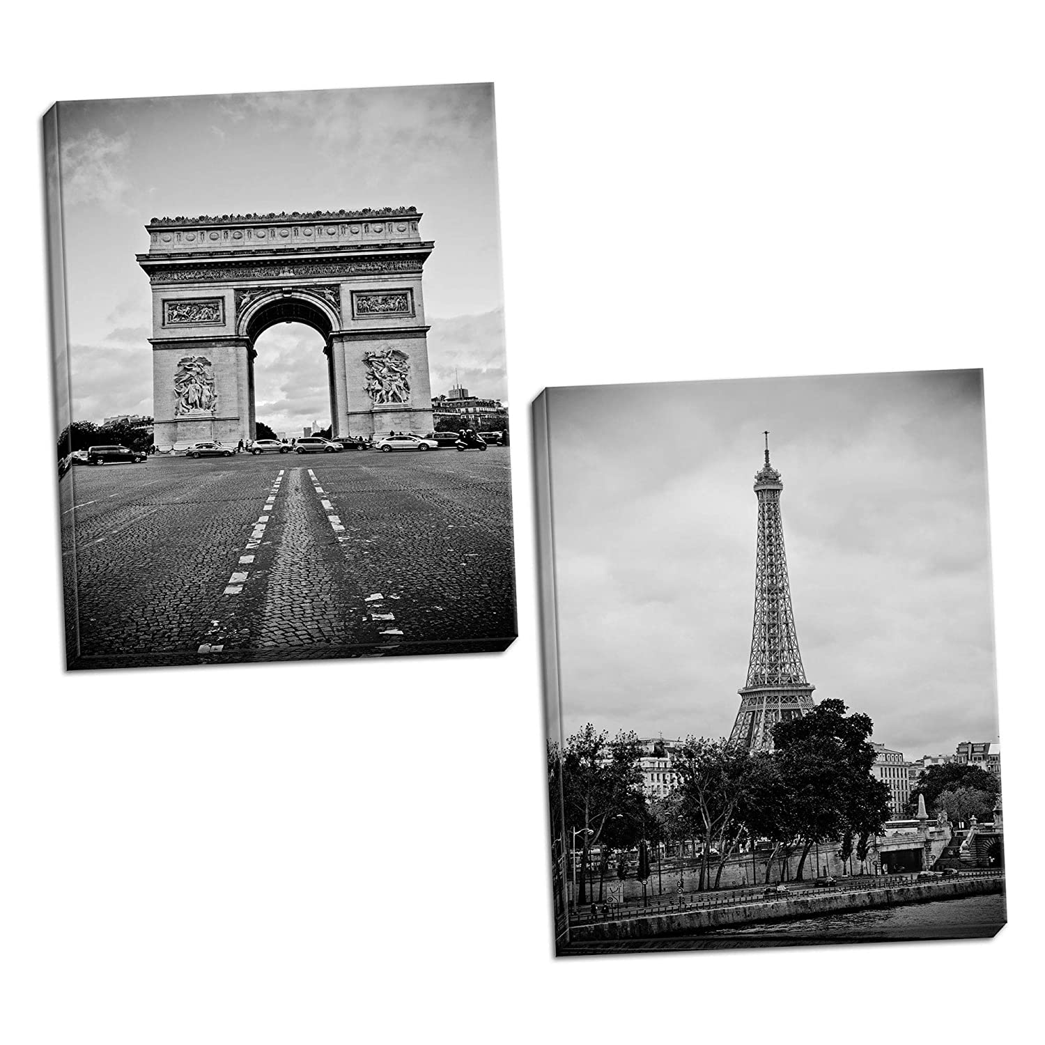 Home décor popular paris landmarks arc de triomphe and eiffel tower photograph prints two 11x14in hand stretched canvases ready to hang black white