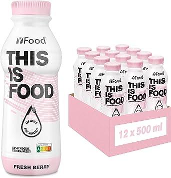 YFood Berry | Batido Sustitutivo | Sustitutivo de comida sin lactosa ni gluten | 33g de proteínas, 26 vitaminas y minerales | 25% de las calorías ...