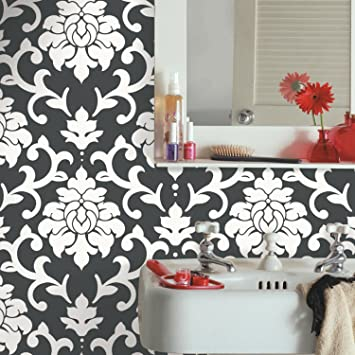 Roommates Black Damask Peel And Stick Wallpaper Amazon Com
