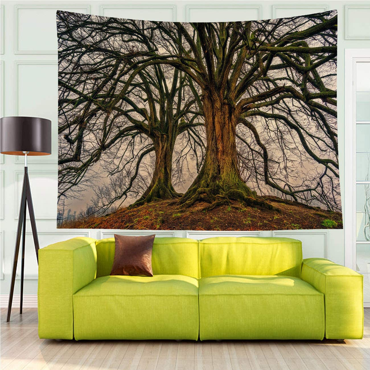 MinGz Wall Hanging Tapestry Versatile,Tree Nature Wood Aesthetic Deciduous Double Moss Structure Old Green Brown,Tapestry for Living Room Bedroom Dorm Home Decor,70x50 in