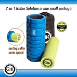 GIK Foam Roller, Foam Roller For Muscles, 2 in 1 Foam Rollers - 2 in 1 Foam Roller For Deep Tissue And Muscle Recovery - Improve Mobility, Flexibility, Circulation - FREE USER E-BOOK + FREE CARRY BAG