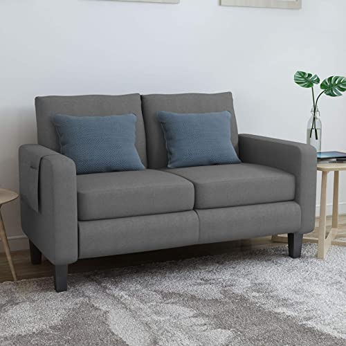 Mecor Modern Loveseat Sofa Linen Fabric 2-Seat Couch w/Thick Cushion and Deep Seat Mid-Century Upholstered Accent Arm Sofa Love Seat