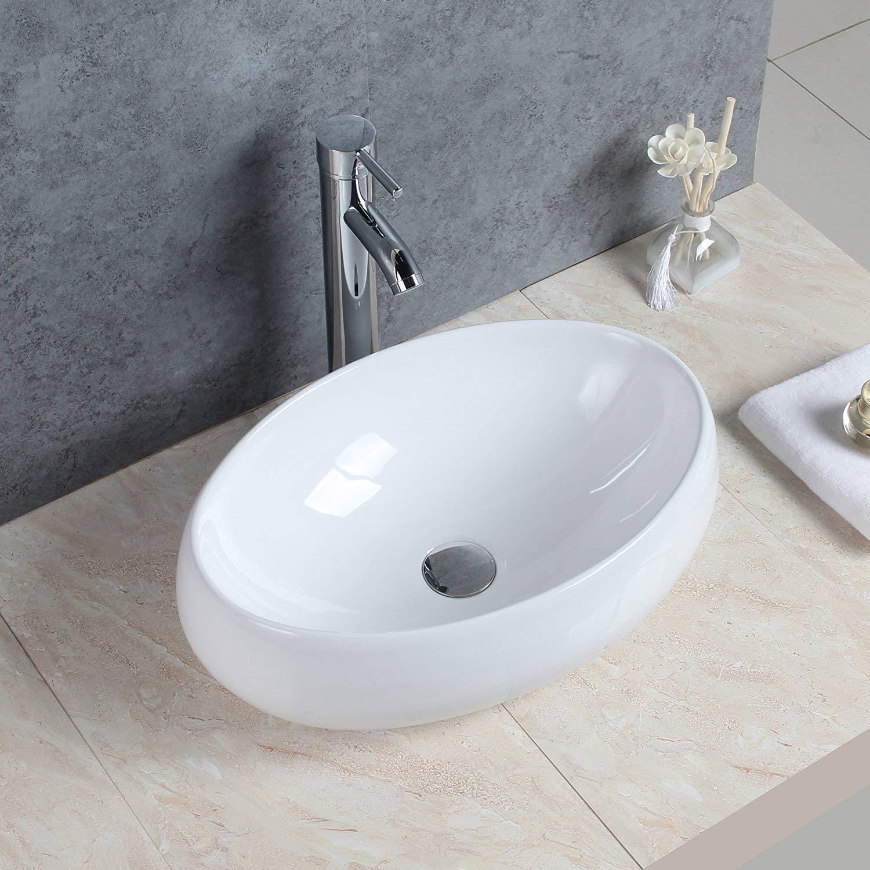 Basong Lavabo soprapiano per il bagno, in lussuosa ceramica bianca non incluso Drain Valve