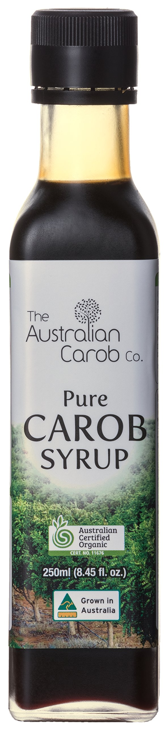 ORGANIC AUSTRALIAN CAROB CO. PREMIUM CAROB SYRUP GLASS BOTTLE, SUPERFOOD, 8.45fl.oz., NON-GMO, WORLD'S #1 BEST TASTING, PURE CAROB SYRUP (no added flavors, sugars) VEGAN, PALEO, NEW GENERATION CAROB