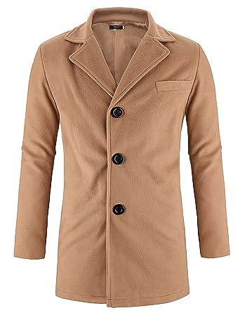 5282e52d1166 Hasuit Men's Trench Coat Winter Long Jacket Button Closure Overcoat ...