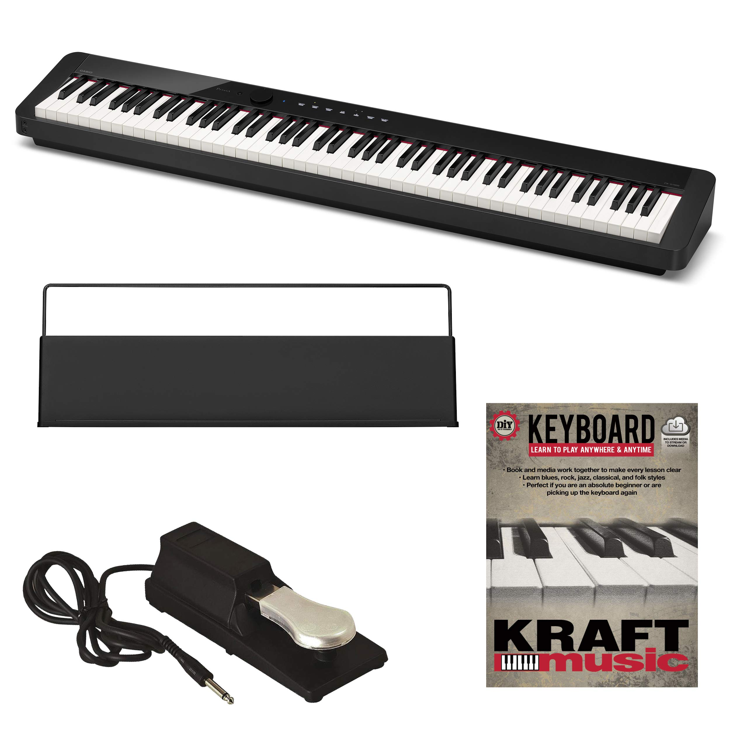 Casio Privia PX-S1000 Digital Piano - Black with Piano-Style Sustain Pedal and Lesson Book by Casio