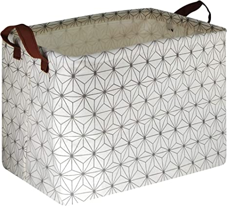Geometric a NTAOHAMPER Rectangular Fabric Storage Basket Collapsible Storage Bin Storage Box Toy Organizer with Handles for Home,Office,Clothes,Toy,Gift Basket
