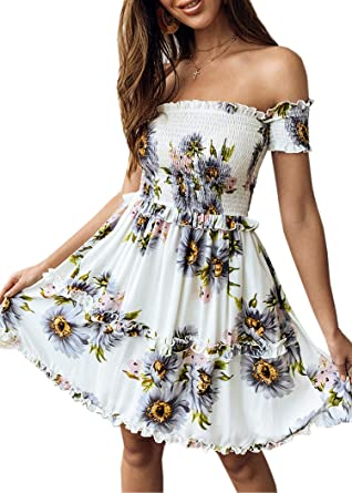 e60df8bea18a Angashion Women's Off Shoulder Backless Bohemian Floral Print Ruffles Swing  Summer Short Mini Dress Gray S