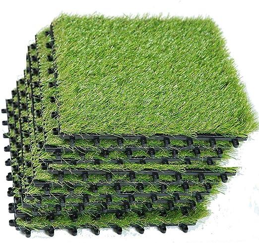 Highliving High Living - Esterilla de jardín Artificial de 40 mm con césped Artificial y césped Artificial de Color Verde Natural (5 baldosas (30 cm x 30 cm): Amazon.es: Jardín