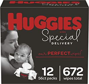 Huggies Special Delivery Hypoallergenic Baby Wipes, Unscented, 12 Flip-Top Packs (672 Wipes Total)