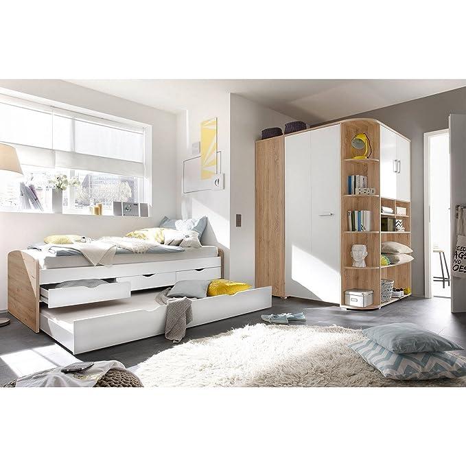 Super Bett/Kojenbett ausziehbar und begehbarer Kleiderschrank Eiche Weiß HT99