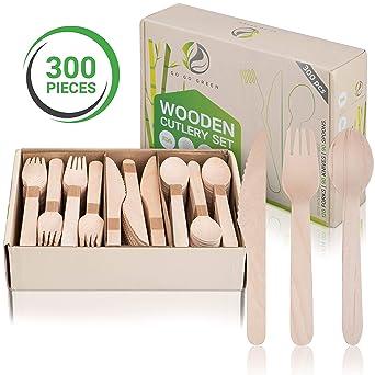 Juego de utensilios de cocina desechables de madera, ecológicos ...