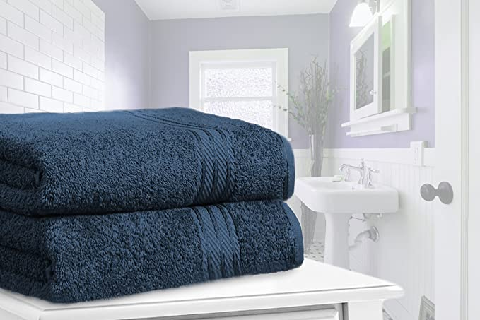 restmor Knightsbridge Set de 2 Toallas de Baño Extra-Grandes de 100% Algodón Egipcio Peinado 500g/m2 Azul Marino: Amazon.es: Hogar