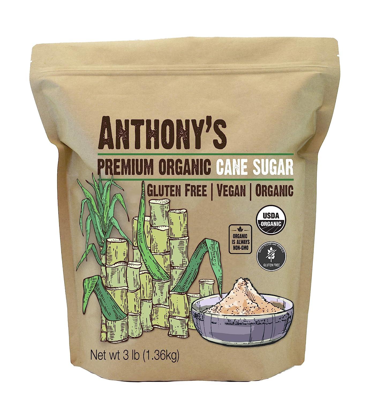 Anthony's Organic Cane Sugar, 3 lb, Granulated, Gluten Free & Non GMO