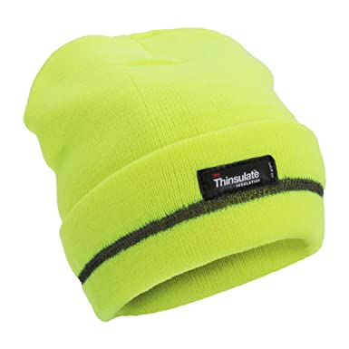 3d5ba12c9df Floso® Unisex Hi Vis Thinsulate Thermal Knitted Beanie Hat (3M 40g) (One
