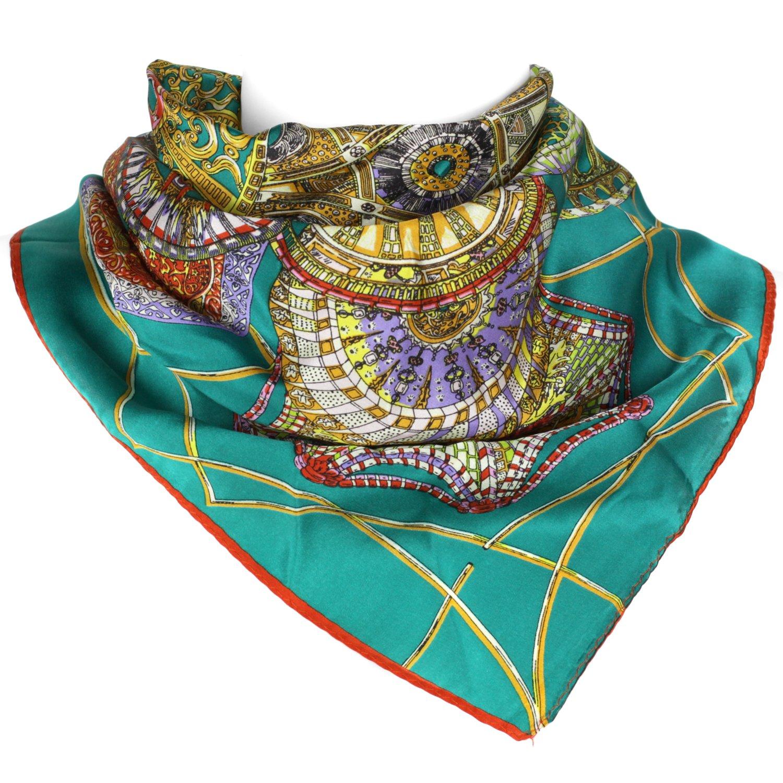 Mandala Carnival  Turquoise Mandala Carnival  Elegant Luxurious 100% Silk Scarf  White & orange  22 x 22 Inch