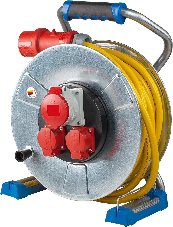 Metal, 400 V, 25 m, con 2 Tomas de Corriente y 1 Enchufe CEE, IP44, Fabricado en Alemania Color Plateado AS Schwabe Xperts K35 Carrete alargador de Cable