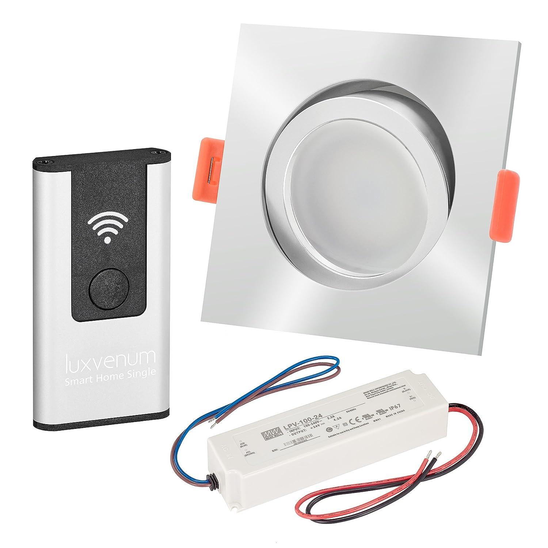 LUXVENUM®   3er-Set Alexa Echo® Smart Home kompatible LED-Einbaustrahler 230V extra flach 25mm DIMMBAR 6W statt 70W chrom-poliertes Aluminium & Milchglas eckig warmweiß 3000K