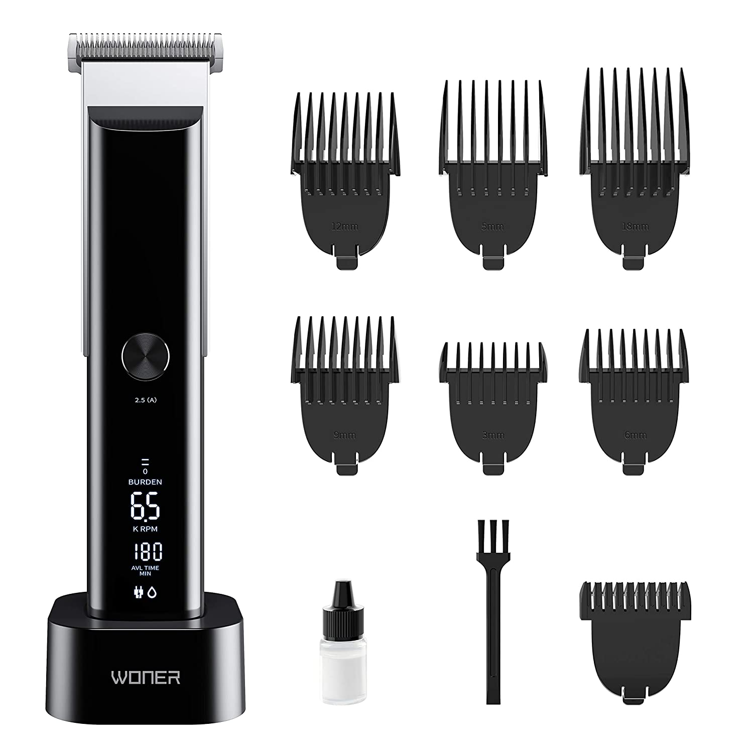 WONER Hair Clippers for Men, Clippers for Hair Cutting, Rechargeable Cordless Hair Trimmers with Charging Stand, Hair Cutting Kits for Family, Christmas Gift for Men Dad Boyfriend Husband