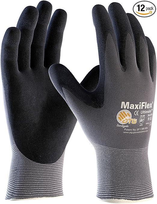 Gants Maxiflex Ultimate 34-874 taille 10 gris//noir NYL polyacrylonitrile en388 Kat II M