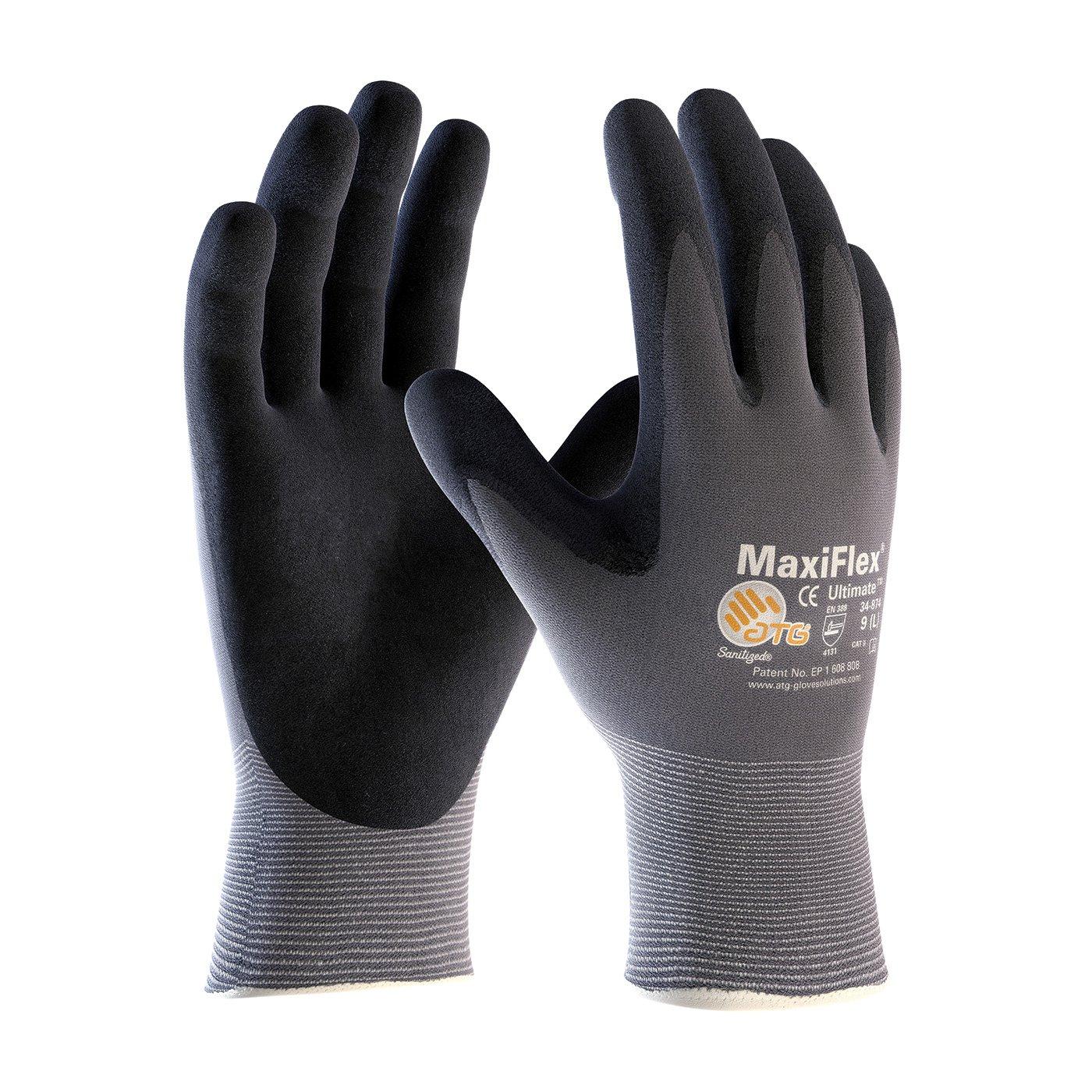 ATG 34-874/XL MaxiFlex Ultimate - Nylon, Micro-Foam Nitrile Grip Gloves - Black/Gray - X-Large - 12 Pair Per Pack by Maxiflex
