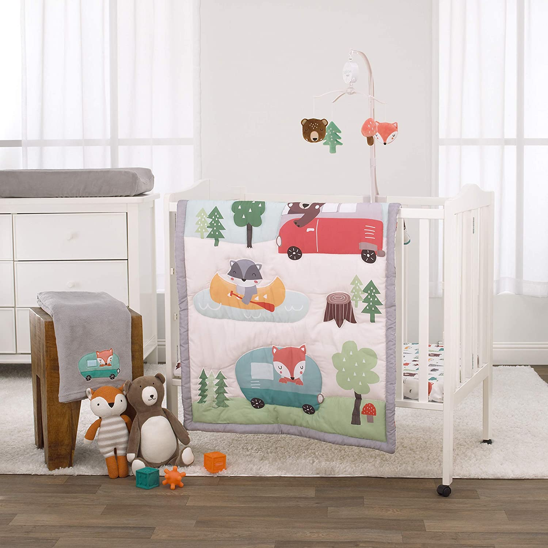 NoJo 3 Piece Mini Crib Bedding Set, Retro Happy Camper, Green/Aqua/Orange/Grey