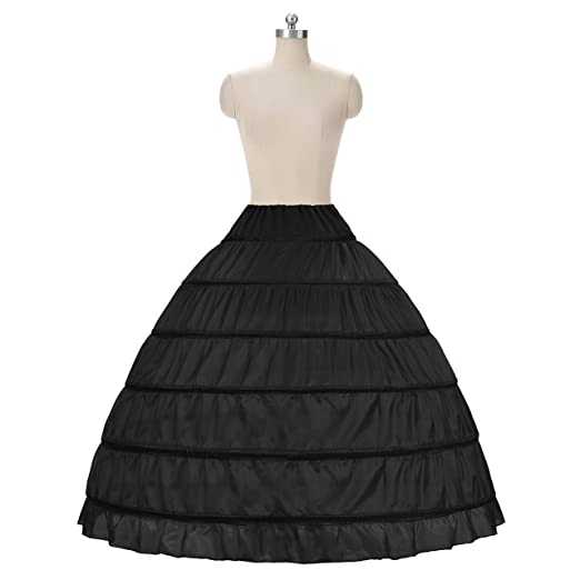 20fa246432d0a WOWBRIDAL Women 6 Hoops Skirt Crinoline Petticoats Slips Floor Length for Bridal  Gown Black