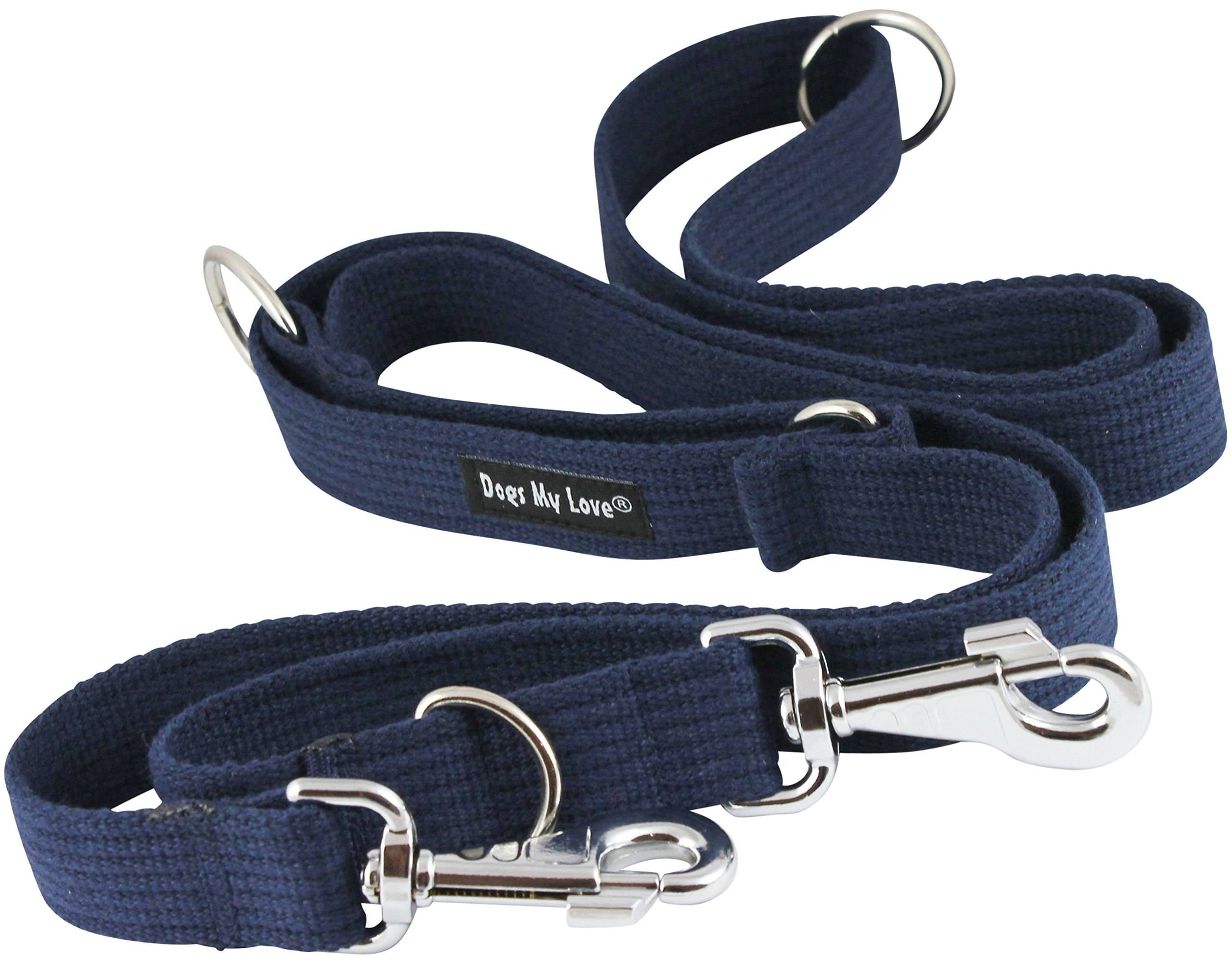 Dogs My Love 1.25'' Wide Cotton Web 6-Way European Multi-Functional Dog Leash, Adjustable Lead 45''-78'' Long, XLarge (Blue) by Dogs My Love