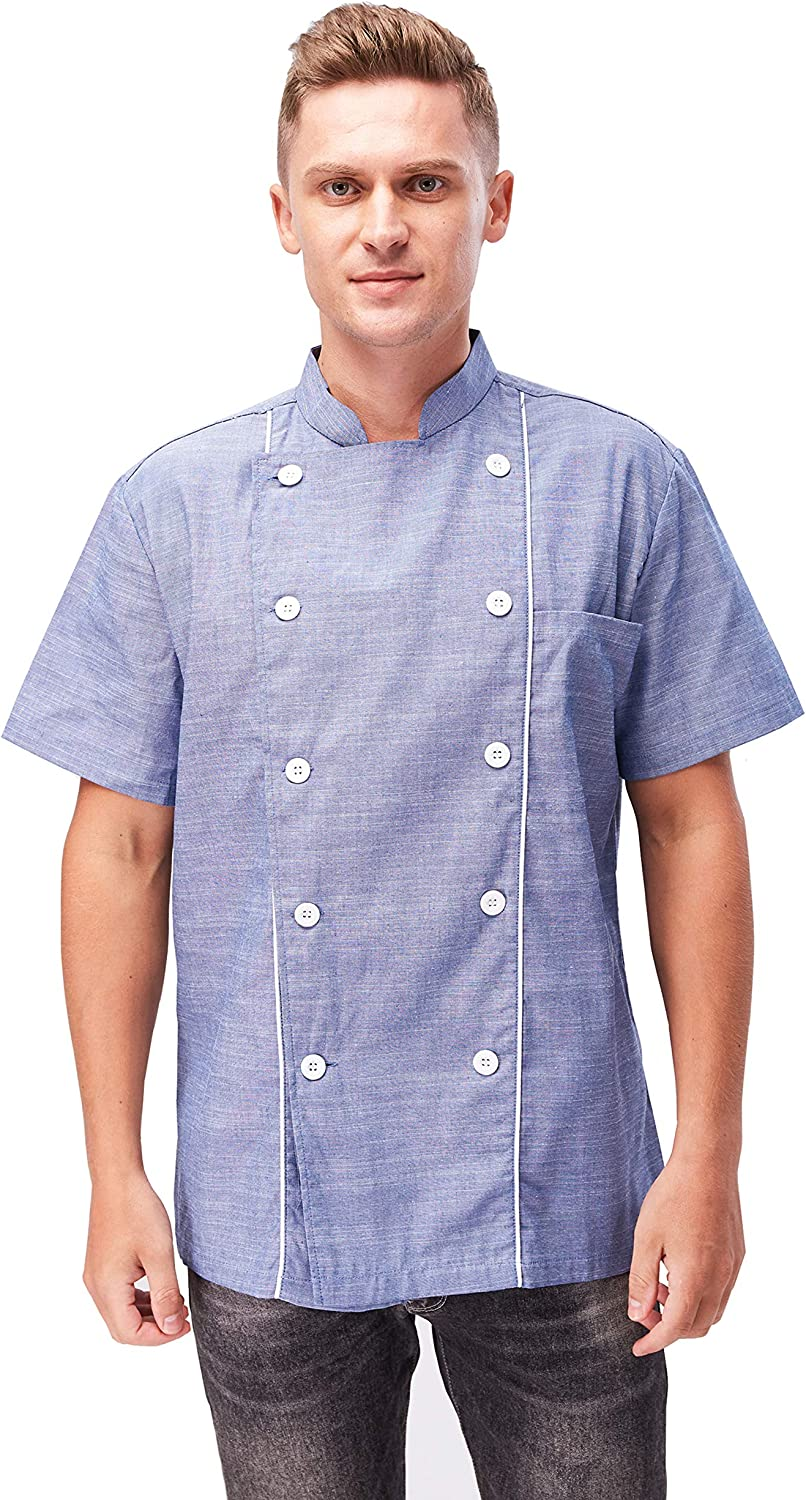 Men's and Women's Chef Coat Double-Breasted Short-Sleeved Summer Chef Jacket