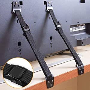 SYOSIN Anti-Tip Furniture and TV Straps, Metal Heavy Duty TV Straps, Adjustable Furniture Straps Furniture Anchors TV Wall Straps For Baby Proofing, Fit Most Flat Screen TVs and Furniture (2 Straps)