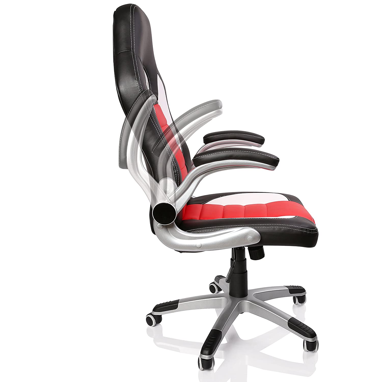 TRESKO® Silla de oficina Racing Gaming giratoria, escritorio ordenador, 4 colores diferentes, reposabrazos acolchados y regulables, mecanismo de inclinación ...