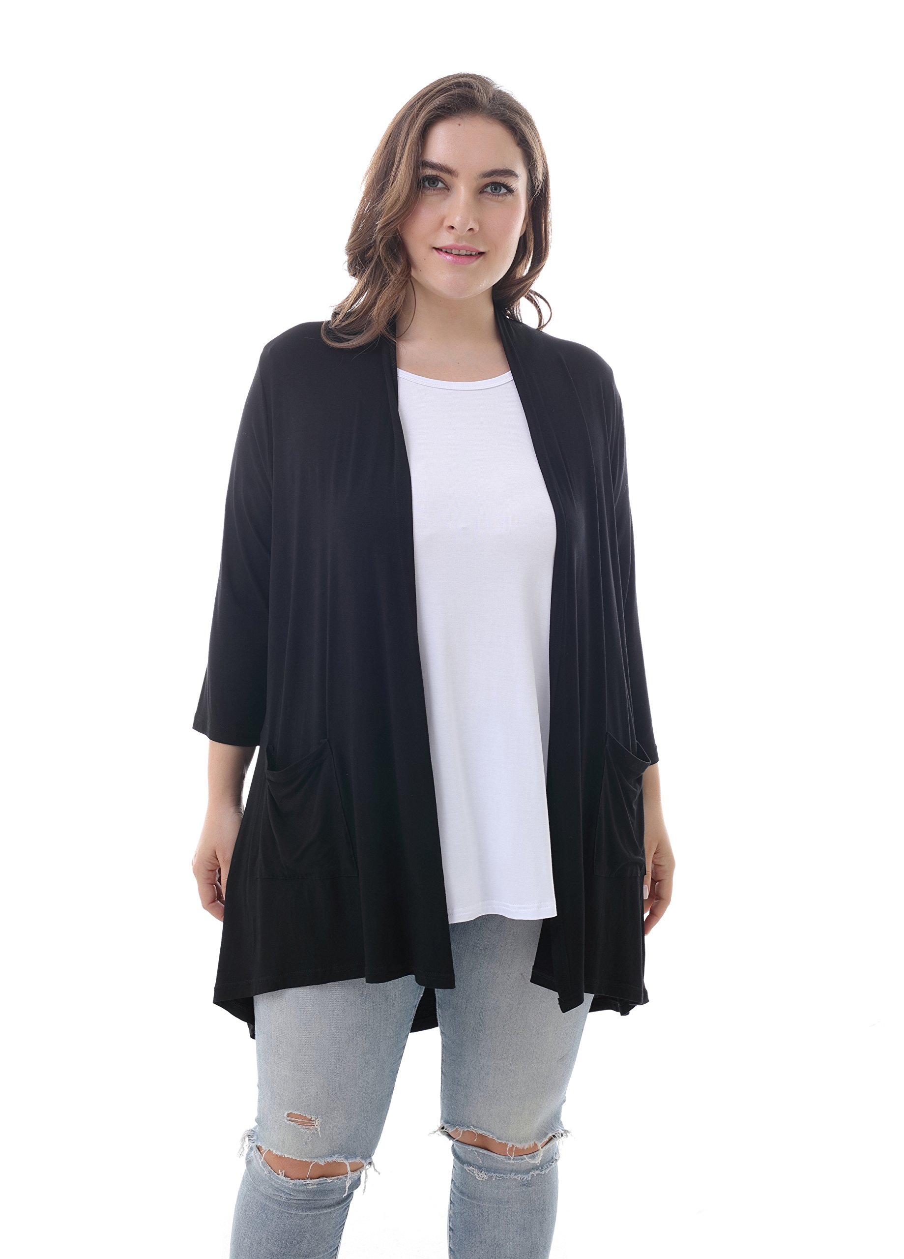 ZERDOCEAN Women's Plus Size 3/4 Sleeve Lightweight Soft Printed Drape Cardigan with Pockets Black 2X