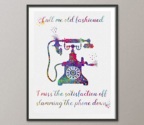 Amazon Vintage Telephone Quote Watercolor Poster Art Print Wall
