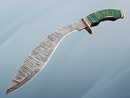 Amazon.com : Damascus Steel Kukri Knife 15 Inches custom ...