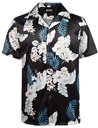 1d9ecddc67bf Hotouch Men s Hawaiian Aloha Shirt Short Sleeve Tropical Floral ...
