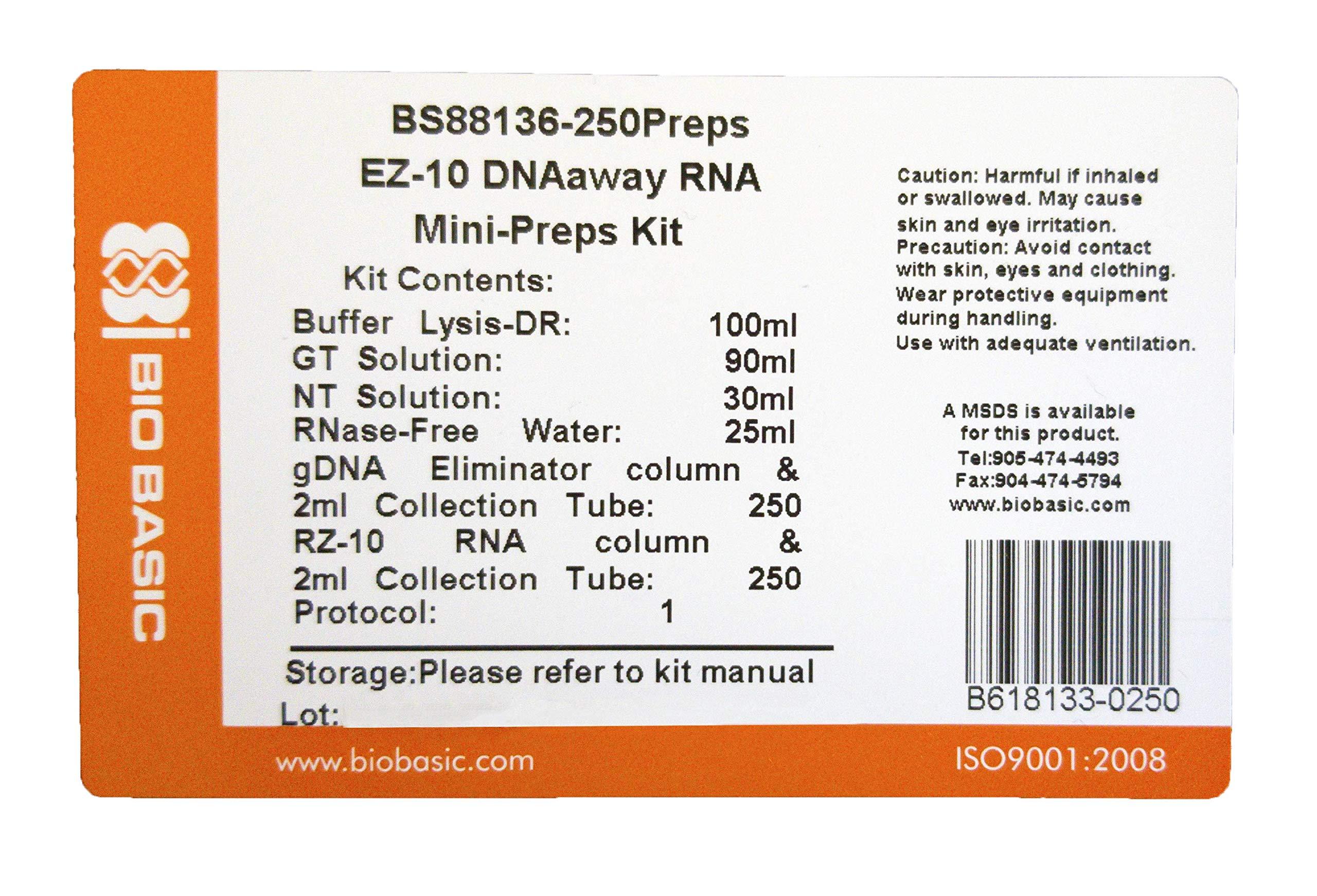 EZ-10 DNAaway RNA Miniprep Kit, 250 Preparations by Bio Basic (Image #2)