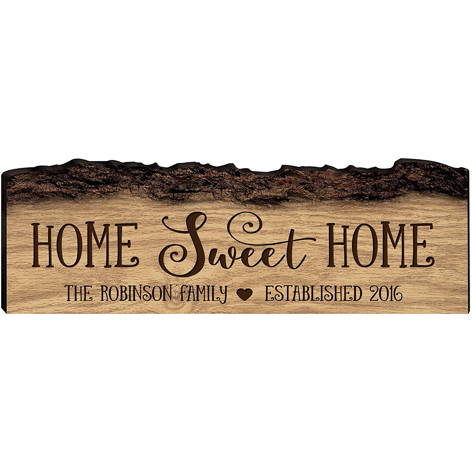 LifeSong Milestones Personalized Custom Family Name Sign with Established Date Engraved with Family Name Home Sweet Home Wall Plaque (Home Sweet Home)