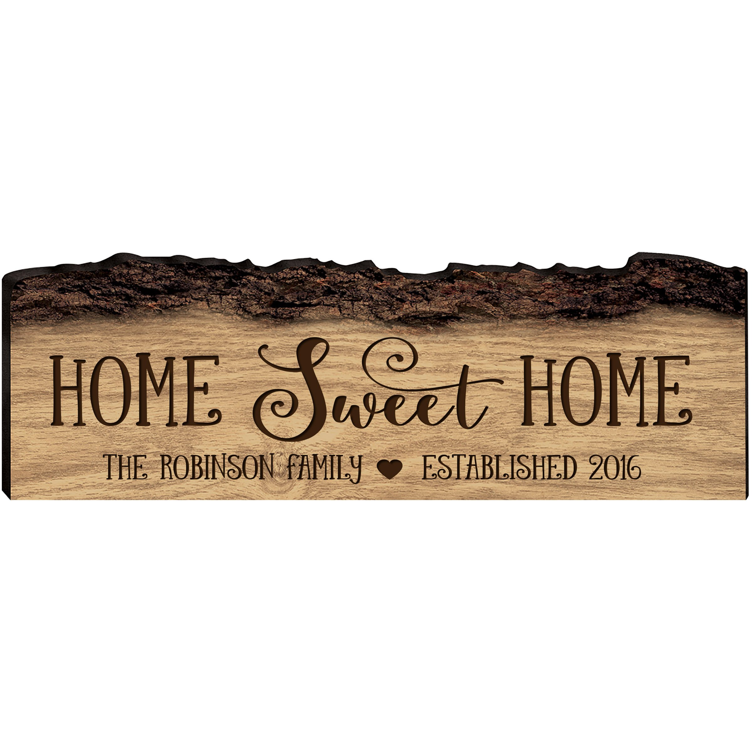 Personalized Family Gift Custom Family Name Sign With Established Date Engraved with Family Name Home Sweet Home Wall Plaque By LifeSong Milestones (Home Sweet Home)