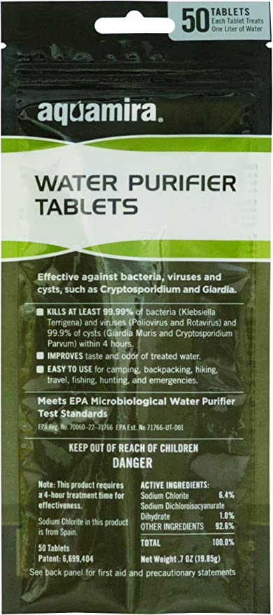 20 Individually Packed Tablets Aquamira Chlorine Dioxide Water Purification