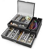 HOUNDSBAY Admiral Dresser Valet Box & Mens Jewelry Box Organizer with Large Smartphone Charging Station (Grey)