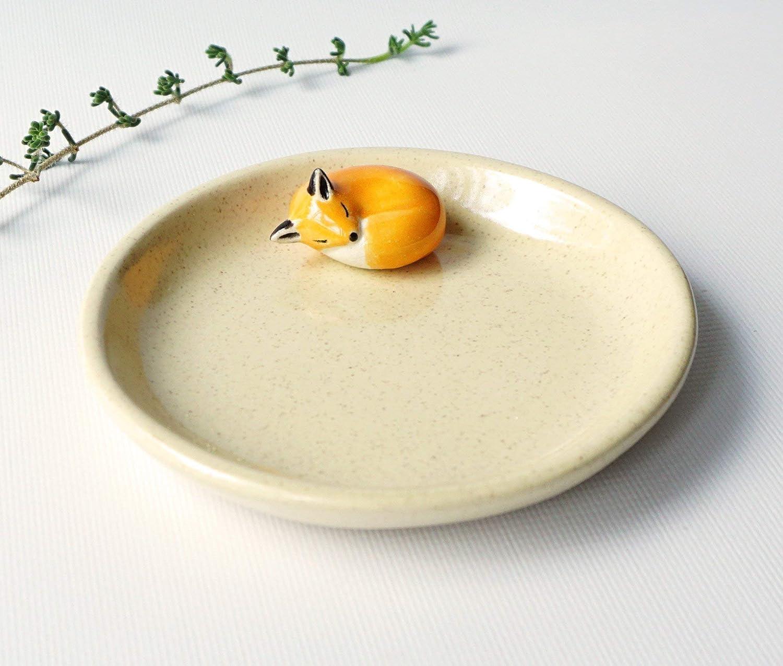 Handmade Ceramic Sleeping Fox Dish