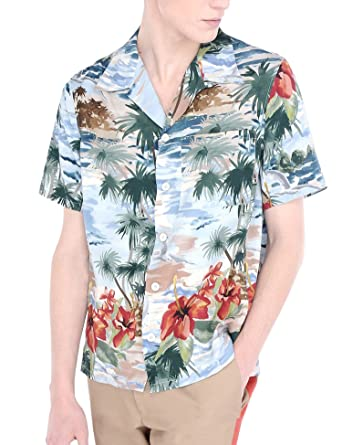 b1dde511d COOFANDY Men's Summer Printed Shirt Short Sleeve Beach Shirts Button Down  Aloha Shirt White